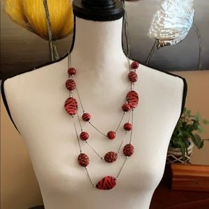 Red and Black Animal Print Three Layer Necklace